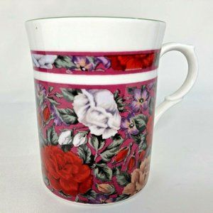 KIngsbury Mug Fine Bone China Red Flower Staffords